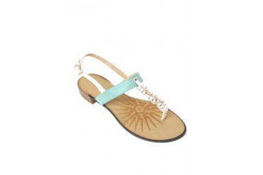 Blue/White Flat Sandals