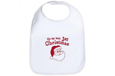 Retro 1st Christmas Retro Bib by CafePress