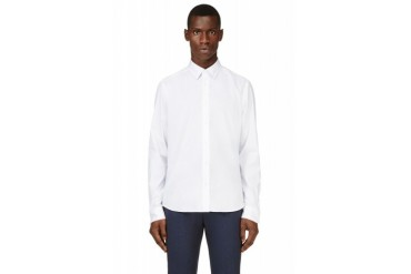 Kenzo White And Ice Blue Trimmed Shirt
