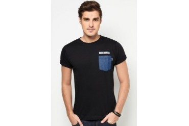 NEVER GROW OLD Denim Pocket Tee