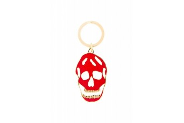 Alexander Mcqueen Red Enamel Cut out Skull Keyring