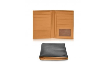 EB Black Leather Passport Wallet