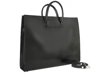 Ladies' Polished Black Leather Classic Briefcase