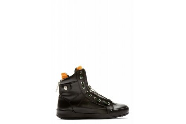 Dsquared2 Black Leather Orange Inlay High Top Zip up Sneakers