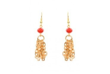 Crystal with Chain Tassel Dangling Earrings