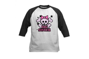 Pink bow skull big sister Kids Baseball Jersey