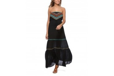 Flying Tomato Embroidered Tube Maxi Dress Black, M
