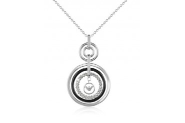 Sterling Silver and Crystals Logo Pendant Necklace