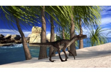 Utahraptor walking along the shore.