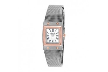 Rose Gold Square Watch With Steel Mesh Strap