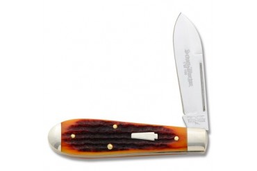 Schatt & Morgan Teardrop Jack Knife with Amber Jigged Bone Handle