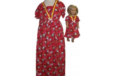 Size 8 Red Hello Kitty With Matching Doll Nightgown