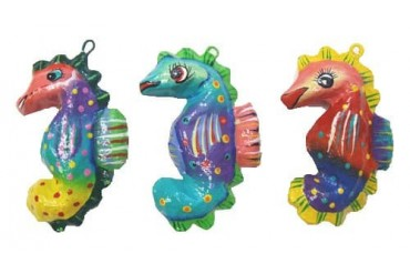 Coastal Seahorse Paper Mache Ornaments Assorted Colors Set
