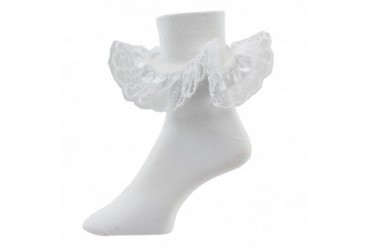 Satin Angel Lace White Bobby Socks for Baby Girls