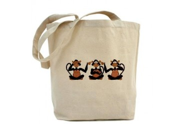 3 Monkeys Funny Tote Bag by CafePress
