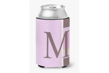 Letter M Initial Monogram - Pink Stripes Can or Bottle Beverage Insulator H