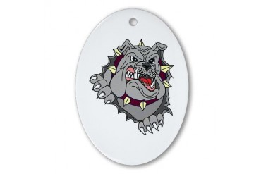 Bulldog Funny Oval Ornament by CafePress