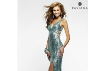 "Faviana ""In Stock"" Orchid Dress - Style 7313"