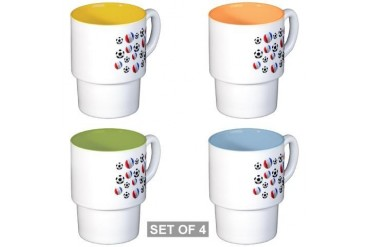 France Soccer Balls Soccer Stackable Mug Set 4 mugs by CafePress