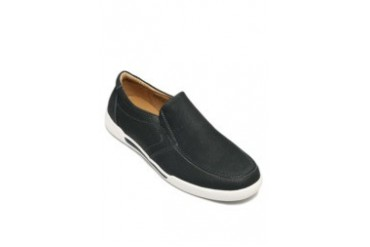 Slip-on leather shoes with stitching accent.