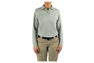 Women's 24-7 Long Sleeve Polos - Polo Shirt 24-7 Ladies Hthr Grey Ls Mr