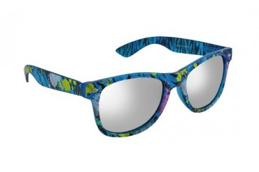 Blue Mirrored Lens Sunglasses with Zebra Paint Spatter Frames