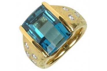 Polly - Topaz and Diamonds Yellow Gold Ring