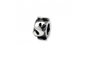 Letter S, Alphabet Charm in Sterling Silver For 3mm Charm Bracelets