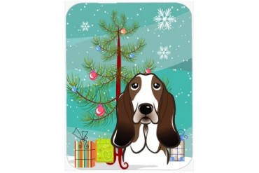 Christmas Tree and Basset Hound Glass Cutting Board Large