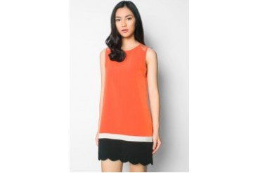 EZRA by ZALORA Colour- Block Scallop Hem Shift Mini Dress