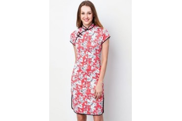 Short-sleeve cotton Qipao