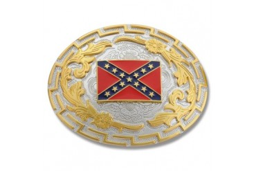 Buckle Shack Gold and Silver Two Tone Confederate Flag Belt Buckle