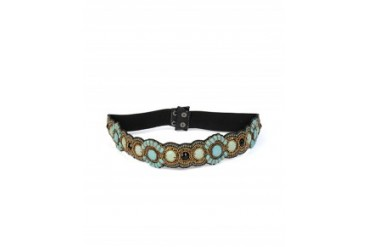 Pink Pewter Turquoise Beaded Stretch Belt Turquoise, 1 Size
