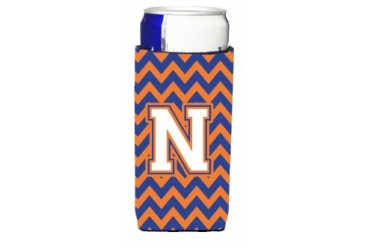 Letter N Chevron Blue and Orange Ultra Beverage Insulators for slim cans