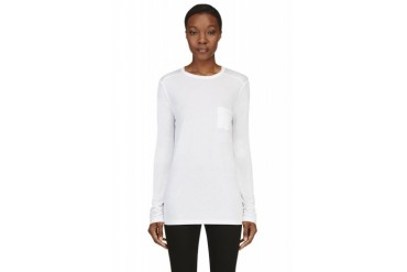 T By Alexander Wang White Classic Long Sleeve T shirt