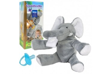 CuddlesMe Plush Elephant Toy w Detachable Pacifier Holder Baby Animal Soft