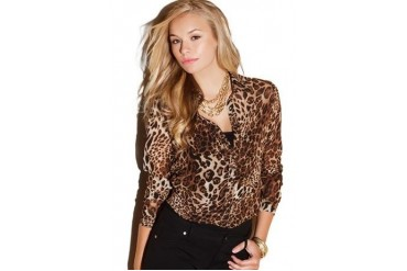 Chain detailed leopard print shirt
