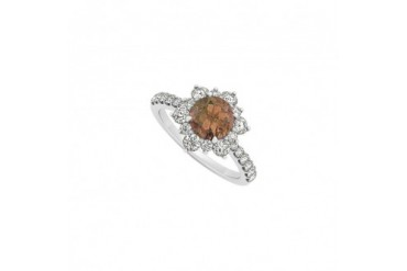 14K White Gold June Birthstone Smoky Quartz and Cubic Zirconia Floral Engag