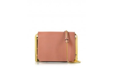Powder Pink Leather Shoulder Bag w/Metal Detail