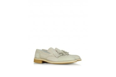 Beige Leather Fringed Loafers