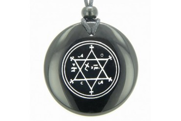 King of Solomon Circle of Pentacle Magic Hexagram Amulet Agate Necklace