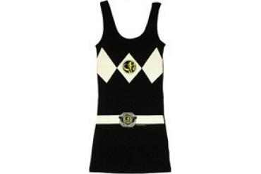 Mighty Morphin Power Rangers Black Suit Costume Snug Fit Tank Top Dress