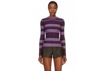 T By Alexander Wang Purple Ribbed And Striped Sweater