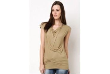 Lady Jersey Blouse With Stitched Folding Detail
