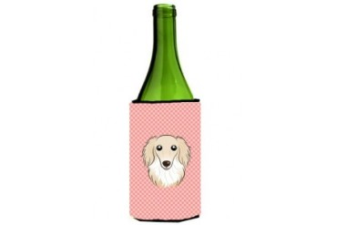 Checkerboard Pink Longhair Creme Dachshund Wine Bottle Beverage Insulator H