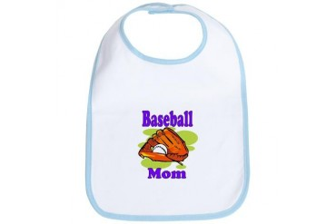 Baseball mom purple black.png Sports Bib by CafePress