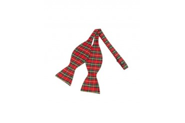 Red & Green Plaid Printed Silk Self-tie Bowtie