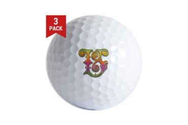 V Vatican Rainbow Monogram Graphic design Golf Balls by CafePress
