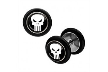Marvel Comics Punisher Skull Stainless Steel Faux Plug Earrings