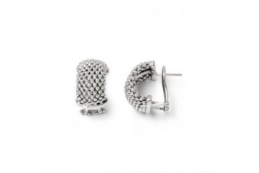 18mm Beaded Mesh Link Omega Back Earrings in Sterling Silver